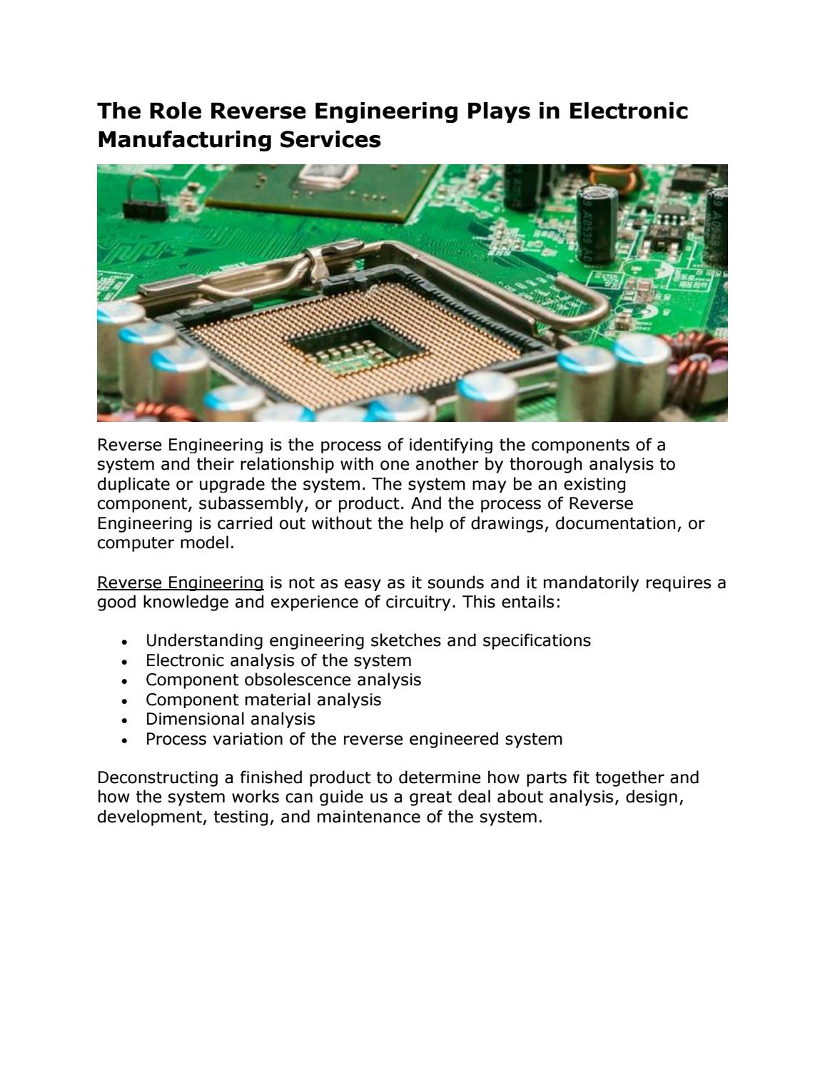 The Role Reverse Engineering Plays in Electronic Manufacturing ...