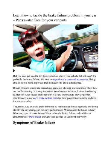 Partsavatar.ca-Auto brake parts save safe! learn how to handle grave ...