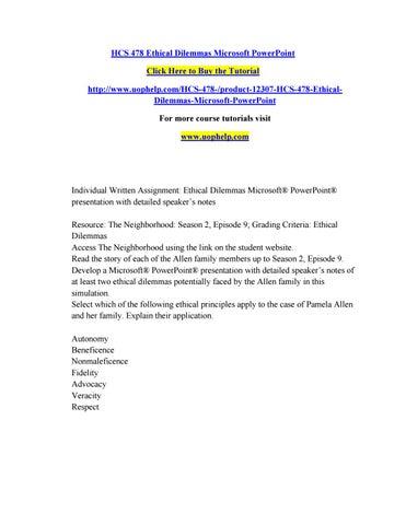 Hcs 478 ethical dilemmas microsoft powerpoint by rfttt - issuu