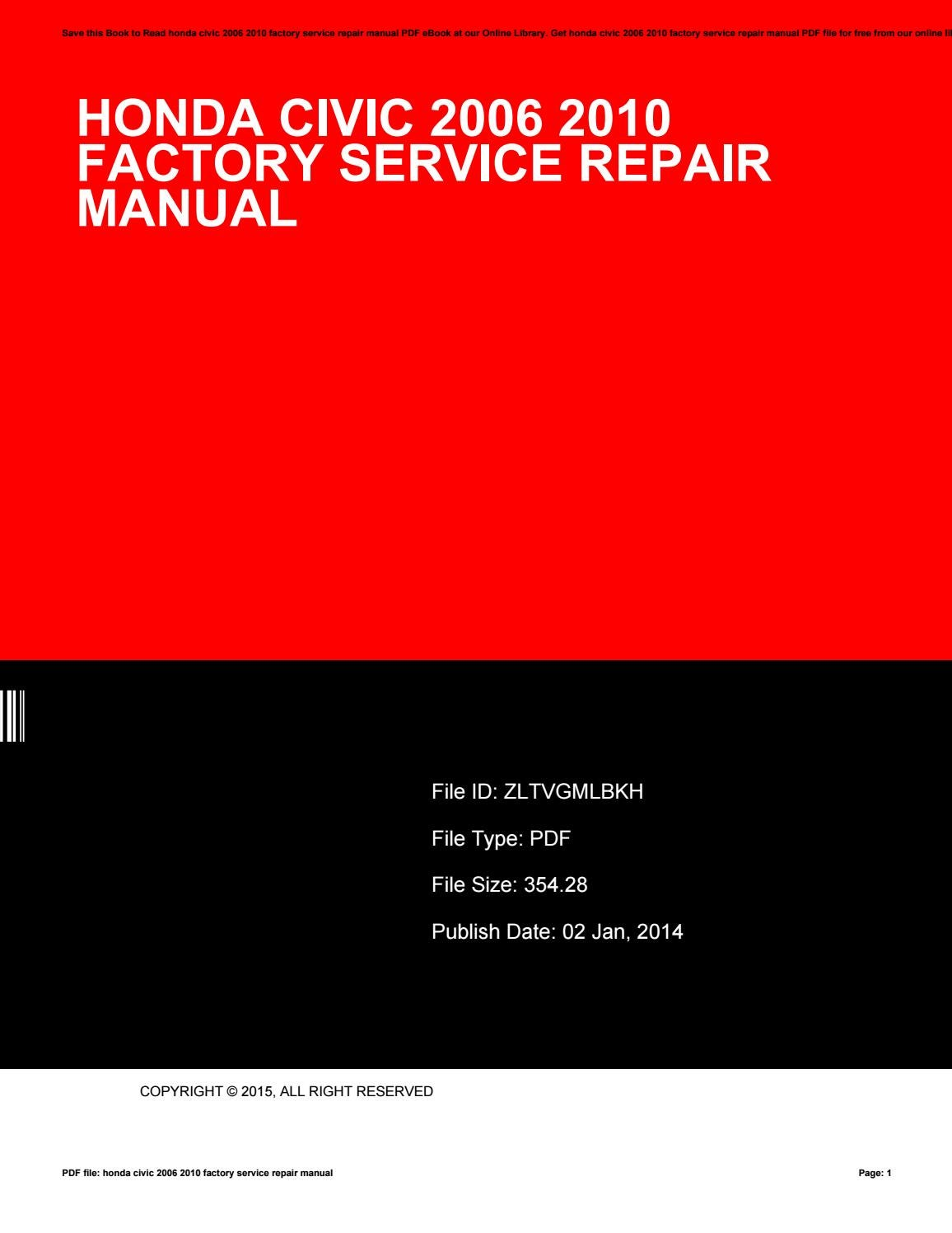 Honda civic 2006 2010 factory service repair manual by CarolPlant4820 -  issuu