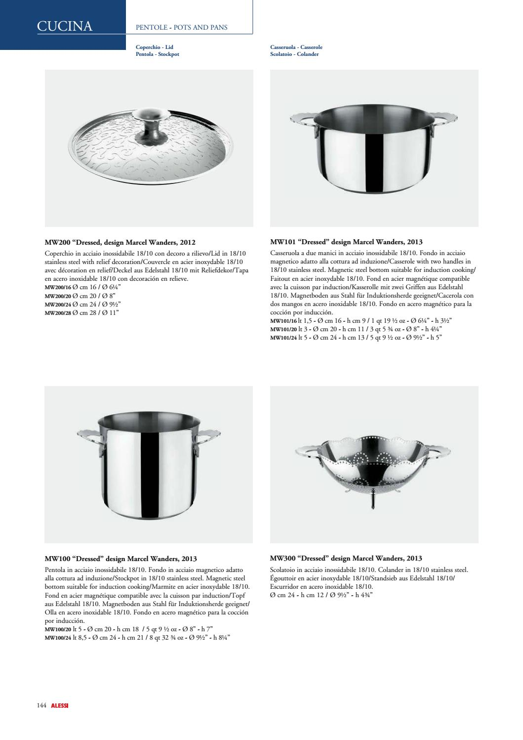 Alessi Dressed Casserole 2 Handles /Ø 24 Stainless Steel
