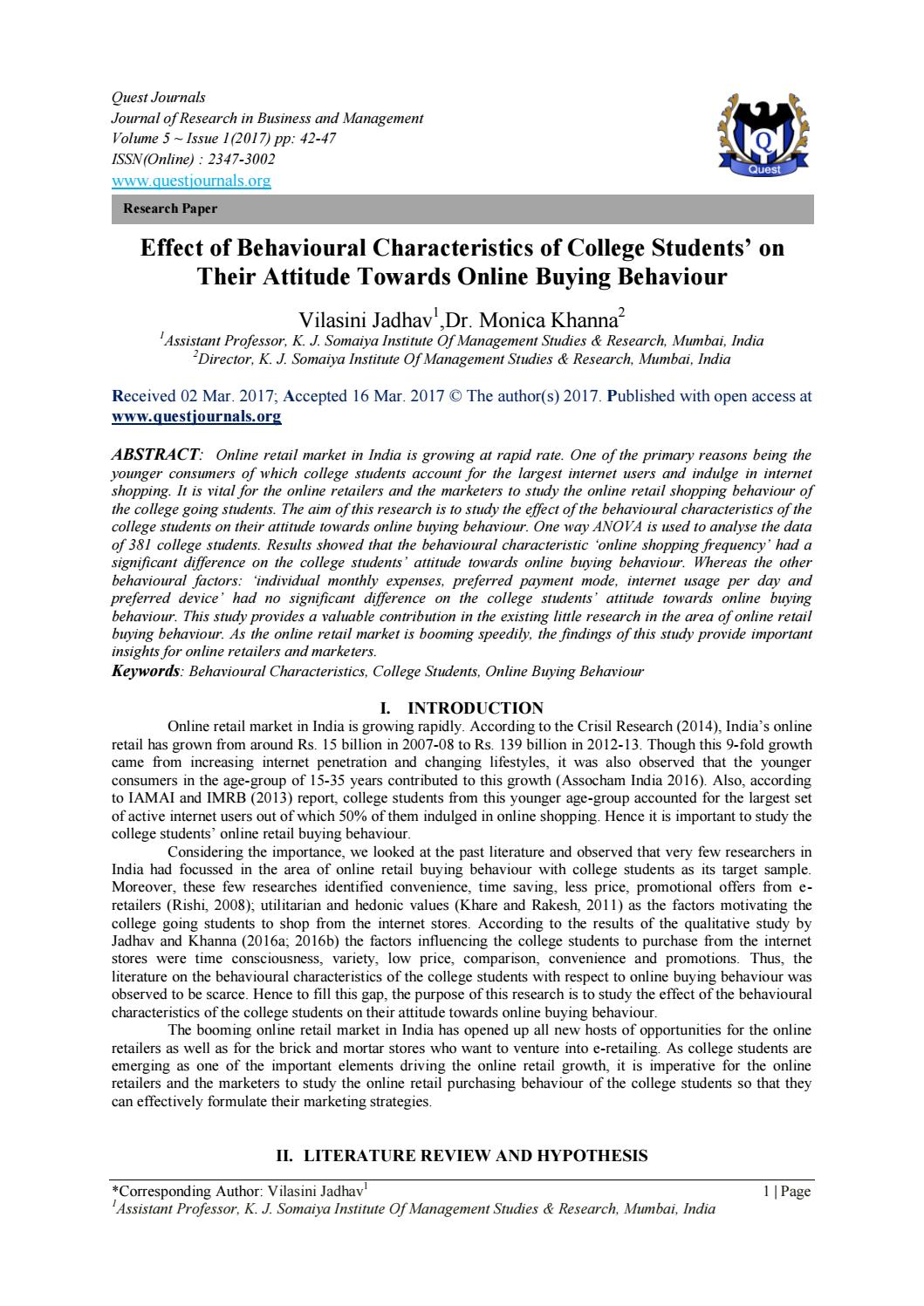 Effect of Behavioural Characteristics of College Students' on Their