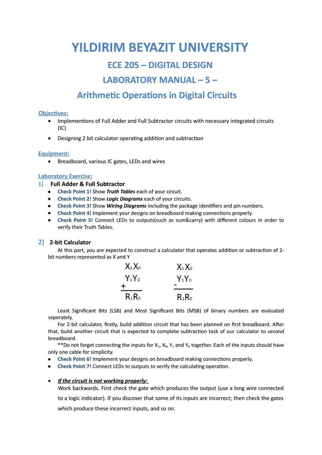 Ee205 Lab Manual 5 By Boyvanss Gassa Issuu Full Subtractor A Logic Circuit Which Is Used For Subtracting Three