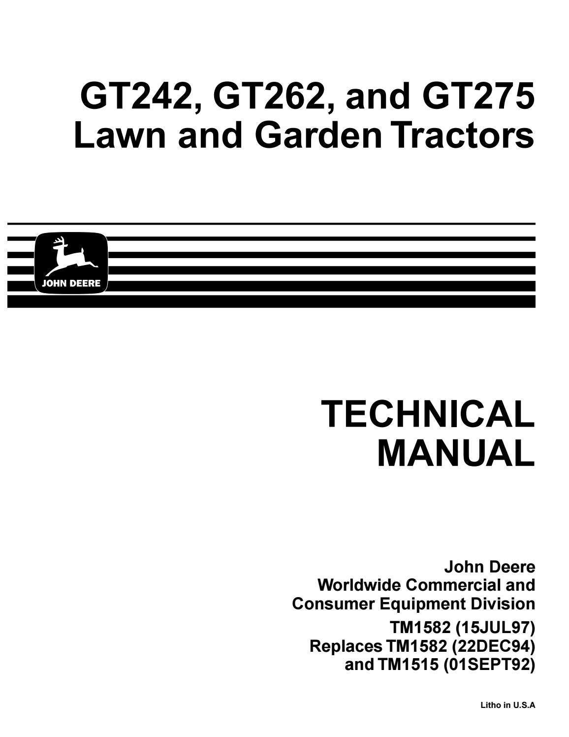 John deere gt275 lawn garden tractor service repair manual ... on