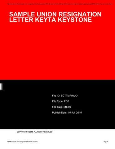 Sample Union Resignation Letter Keyta Keystone By Debraford3230 Issuu