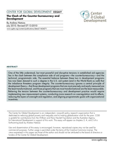 the clash of the counter bureaucracy and development by toms  center for global development essay the clash of the counter bureaucracy  and development by andrew natsios july