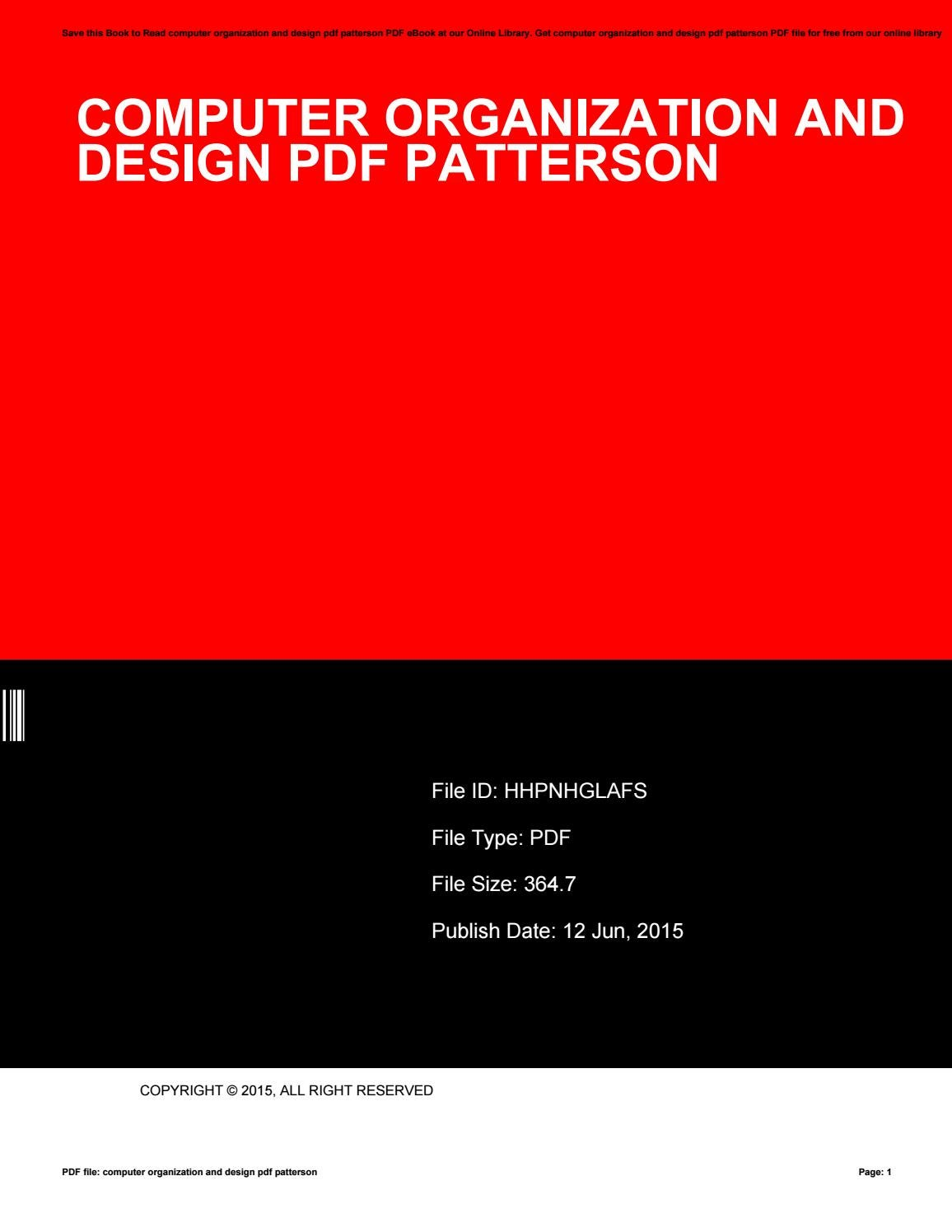 Computer Organization And Design Pdf Patterson By Adrianjohn3394 Issuu