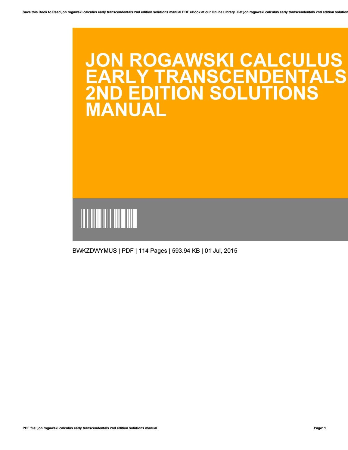 Jon rogawski calculus early transcendentals 2nd edition solutions manual by  LauraWilliams2237 - issuu