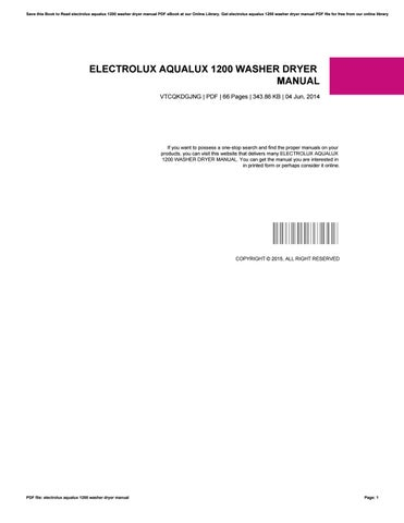 electrolux aqualux 1200 washer dryer manual by milton issuu rh issuu com  electrolux aqualux 1200 manual pdf