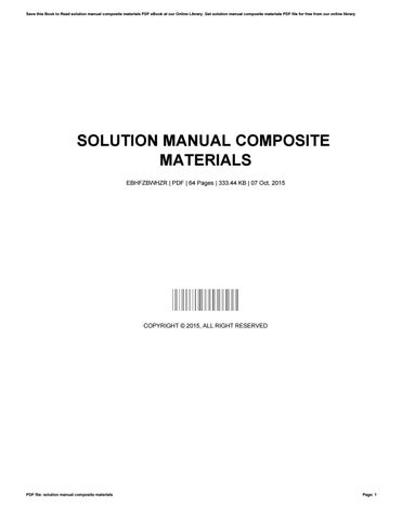 solution manual composite materials by kennethwheeler1939 issuu rh issuu com solution manual engineering mechanics of composite materials Composite Companies in Washington State