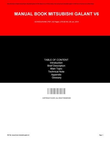 manual book mitsubishi galant v6 by milton issuu rh issuu com 2003 Mitsubishi Galant Wiring-Diagram buku panduan mitsubishi galant
