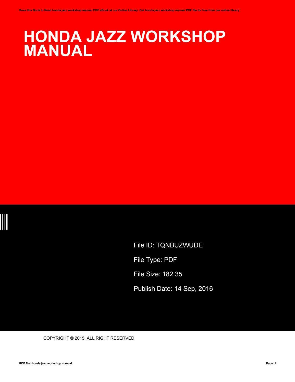 Honda Jazz Workshop Manual By Esmeraldavanmatre1909 Issuu