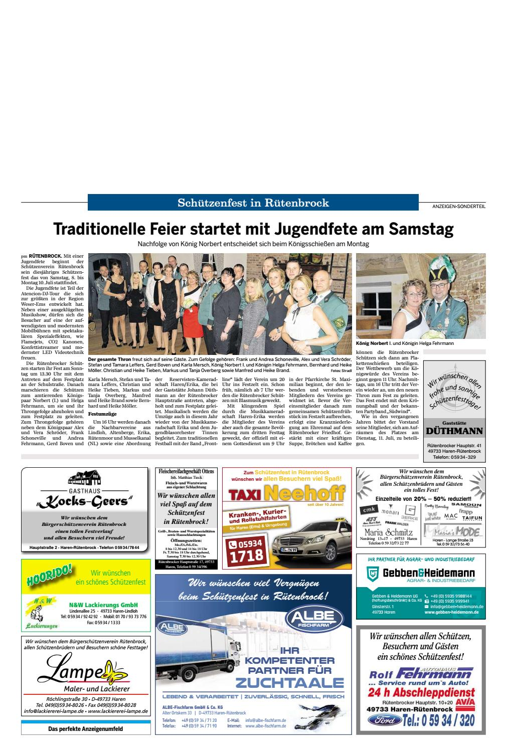Schutzenfest Rutenbrock 2017 Meppener Tagespost By Neue Osnabruecker Zeitung Issuu