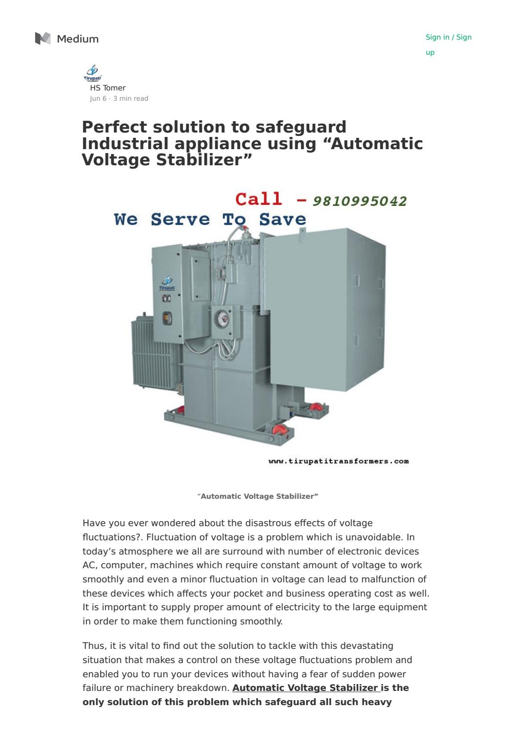 Perfect Solution To Safeguard Industrial Appliance Using Automatic Circuit Diagram Voltage Stabilizer By Sheetal Singh Issuu