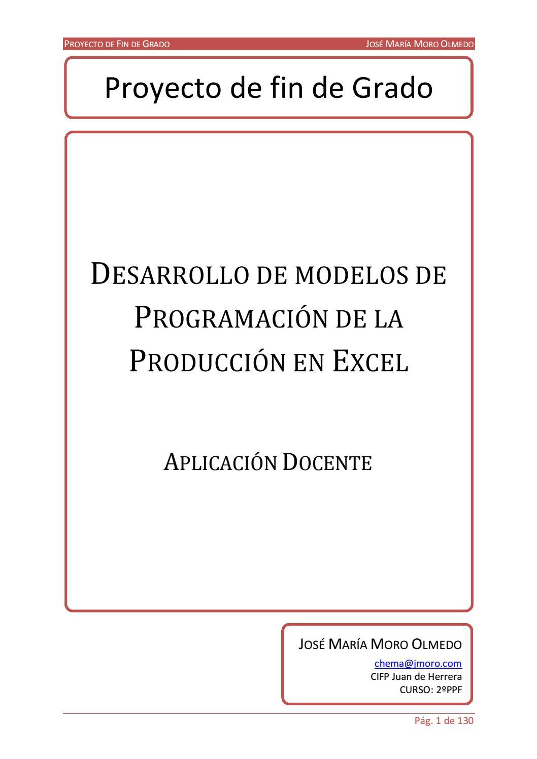 Desarrollo de modelos de programación de la producción en excel ...