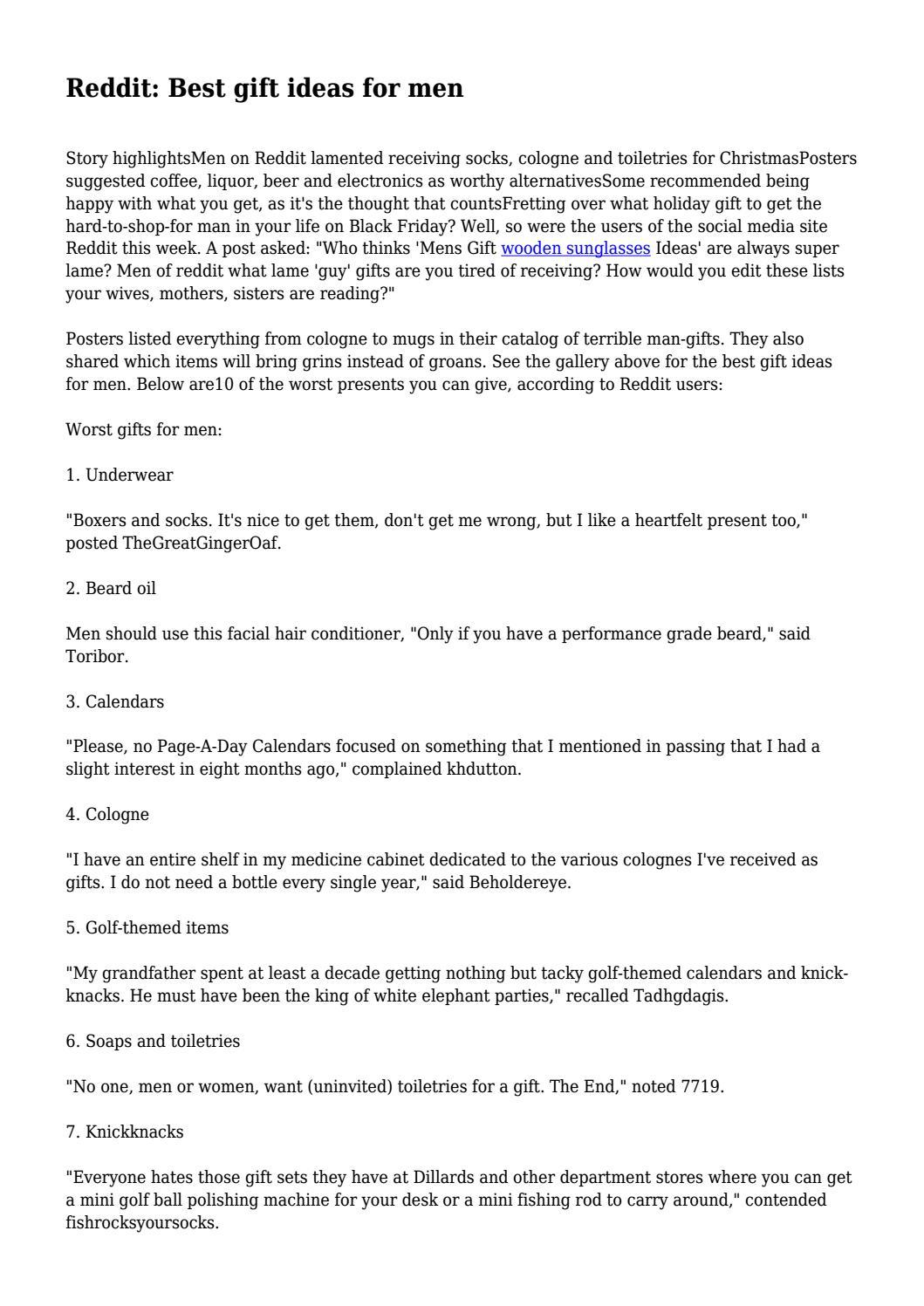 Reddit: Best gift ideas for men... by jeremiahkong333 - issuu