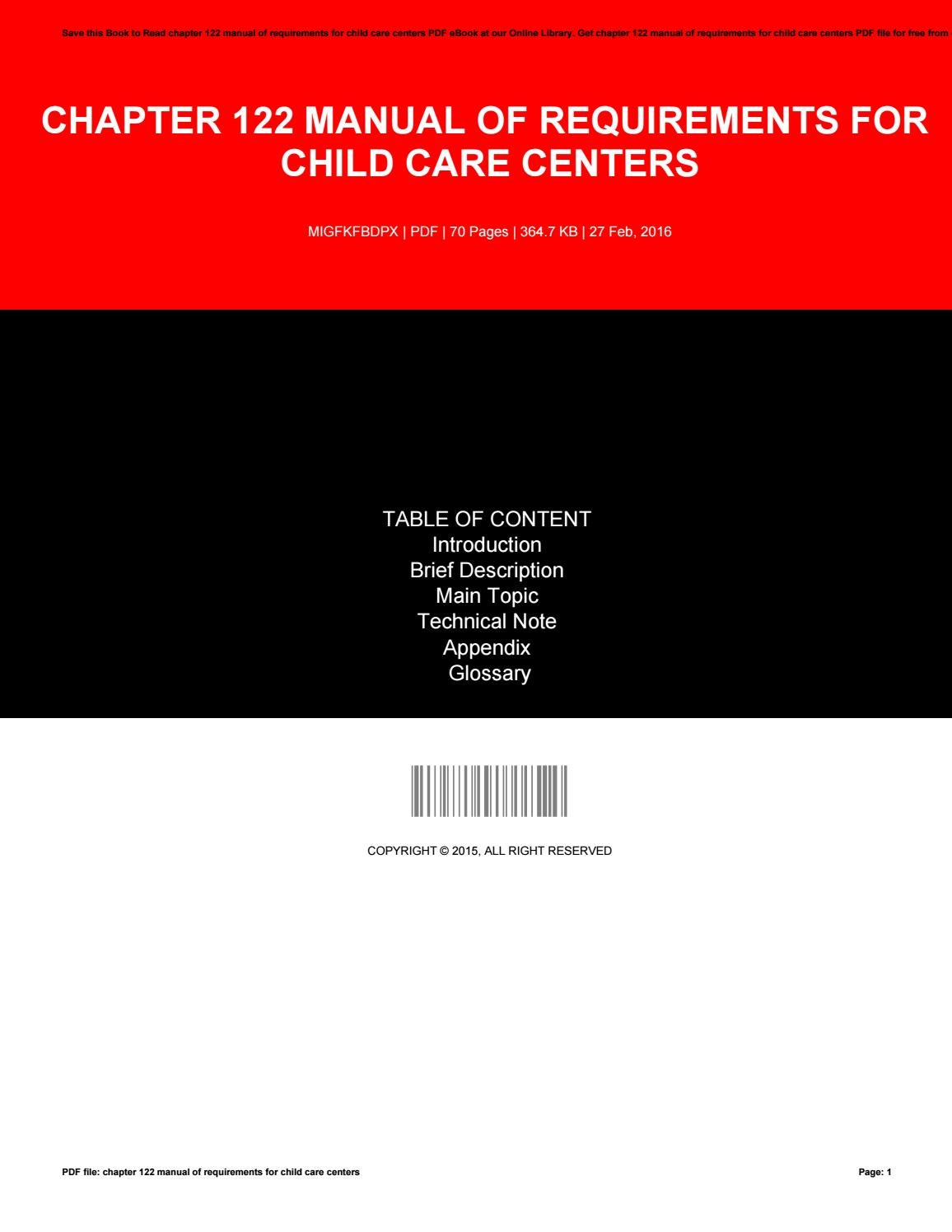 Chapter 122 Manual Of Requirements For Child Care Centers By