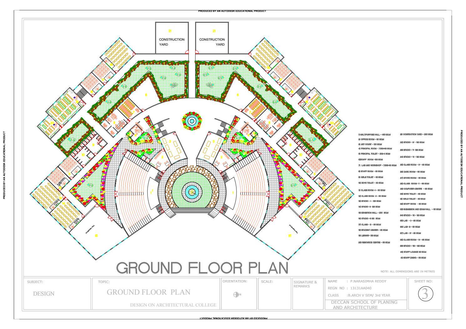 architecture college plan floor ground print