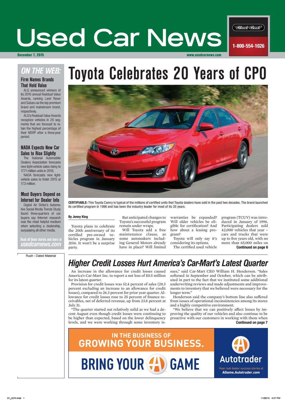 Used Car News 12/7/15 by Used Car News - issuu