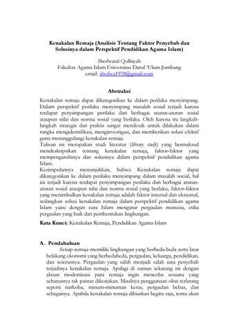 Kenakalan Remaja Analisis Faktor Penyebab Dan Solusinya Dalam Perspektif Pendidikan Agama Islam By Jurnal Sumbula Fai Undar Issuu