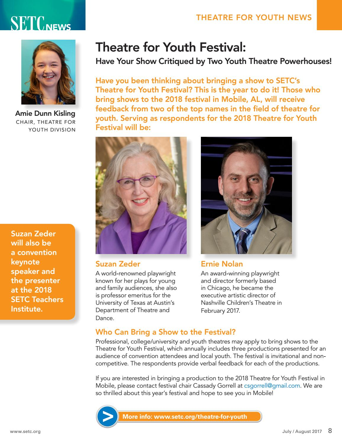 SETC News July/August 2017 by Southeastern Theatre
