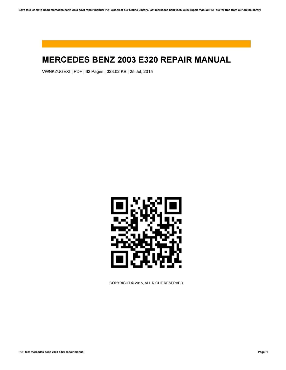 Mercedes benz e320 repair manual, service manual online 1994, 1995.