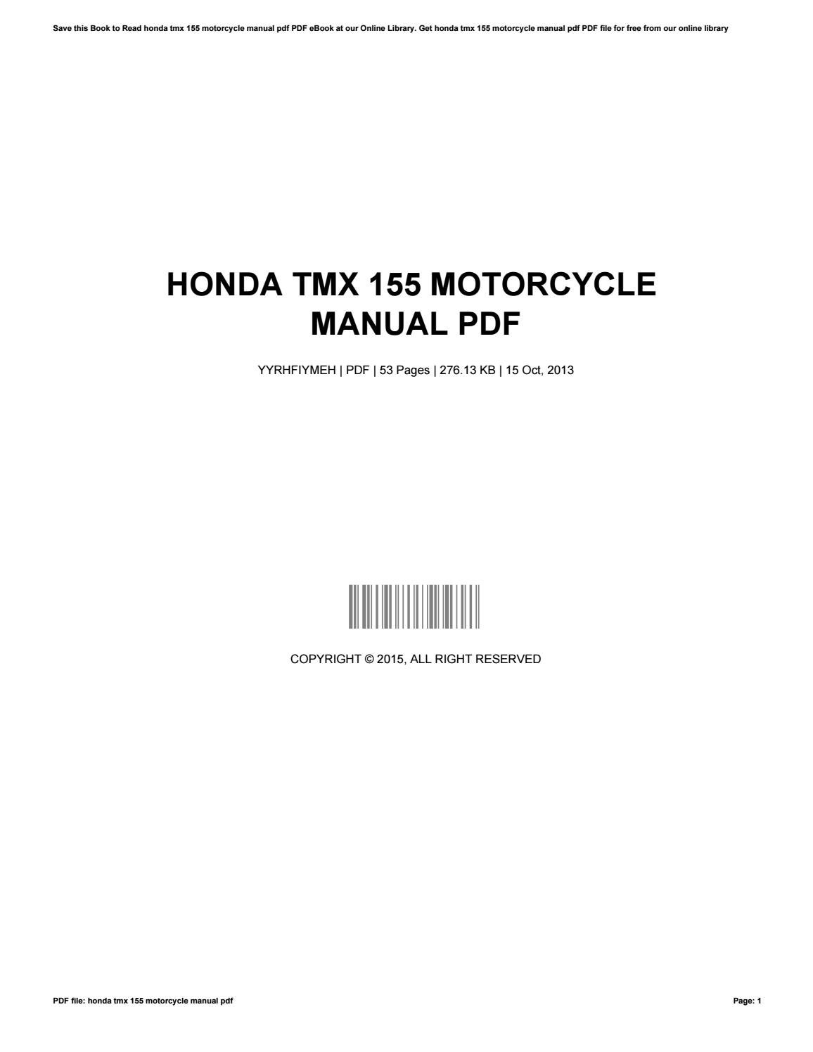 Honda Tmx 155 Motorcycle Manual Pdf By Dandickey2655 Issuu Free Wiring Diagrams For Motorcycles