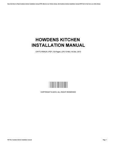 Howdens Kitchen Installation Manual By Twanastclair3167 Issuu