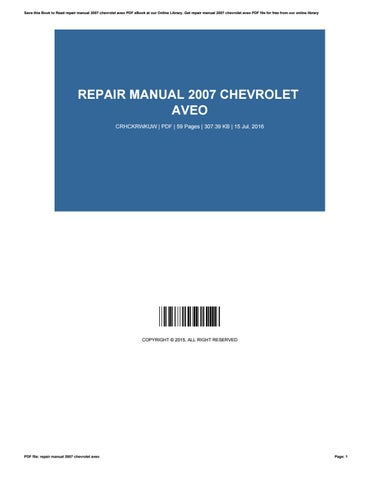 chevy aveo repair manual pdf