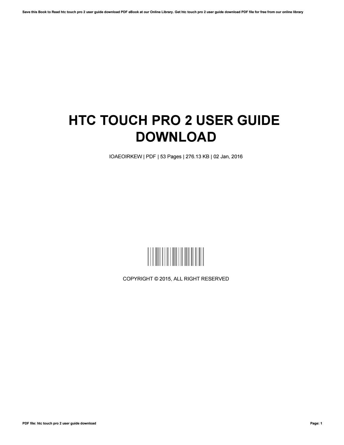 Htc touch pro 2 owners manual.