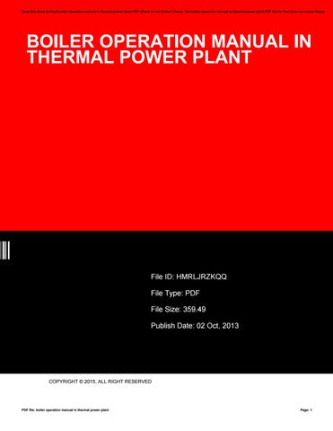 Boiler operation manual in thermal power plant by katie - issuu