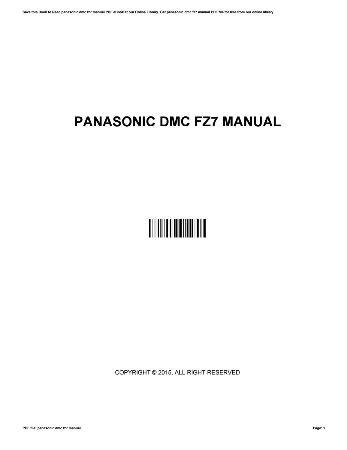 Panasonic technical manuals ebook array panasonic dmc fz7 manual by sergiohale3352 issuu rh issuu fandeluxe Gallery