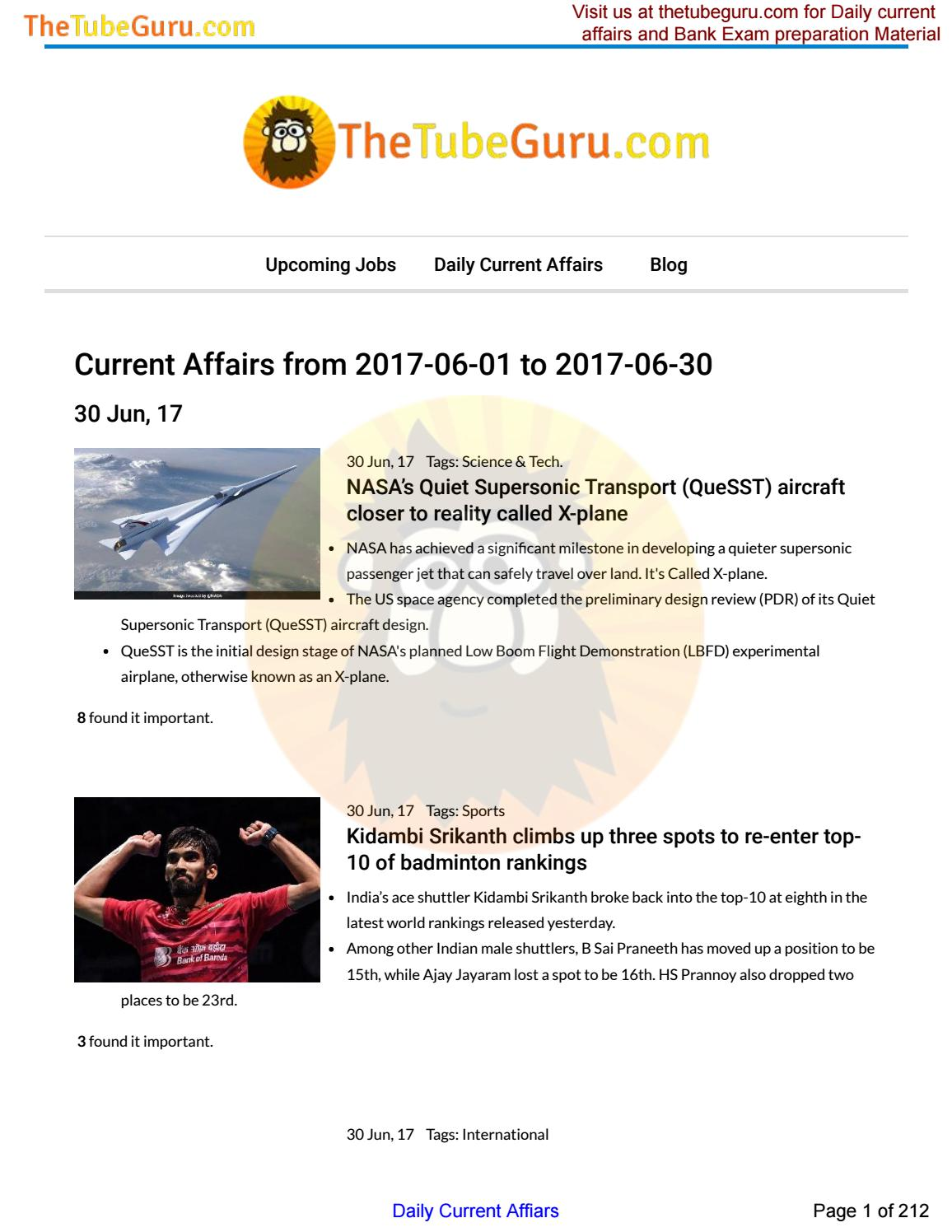 June 2017 - Current affairs for Civil Services, Bank and