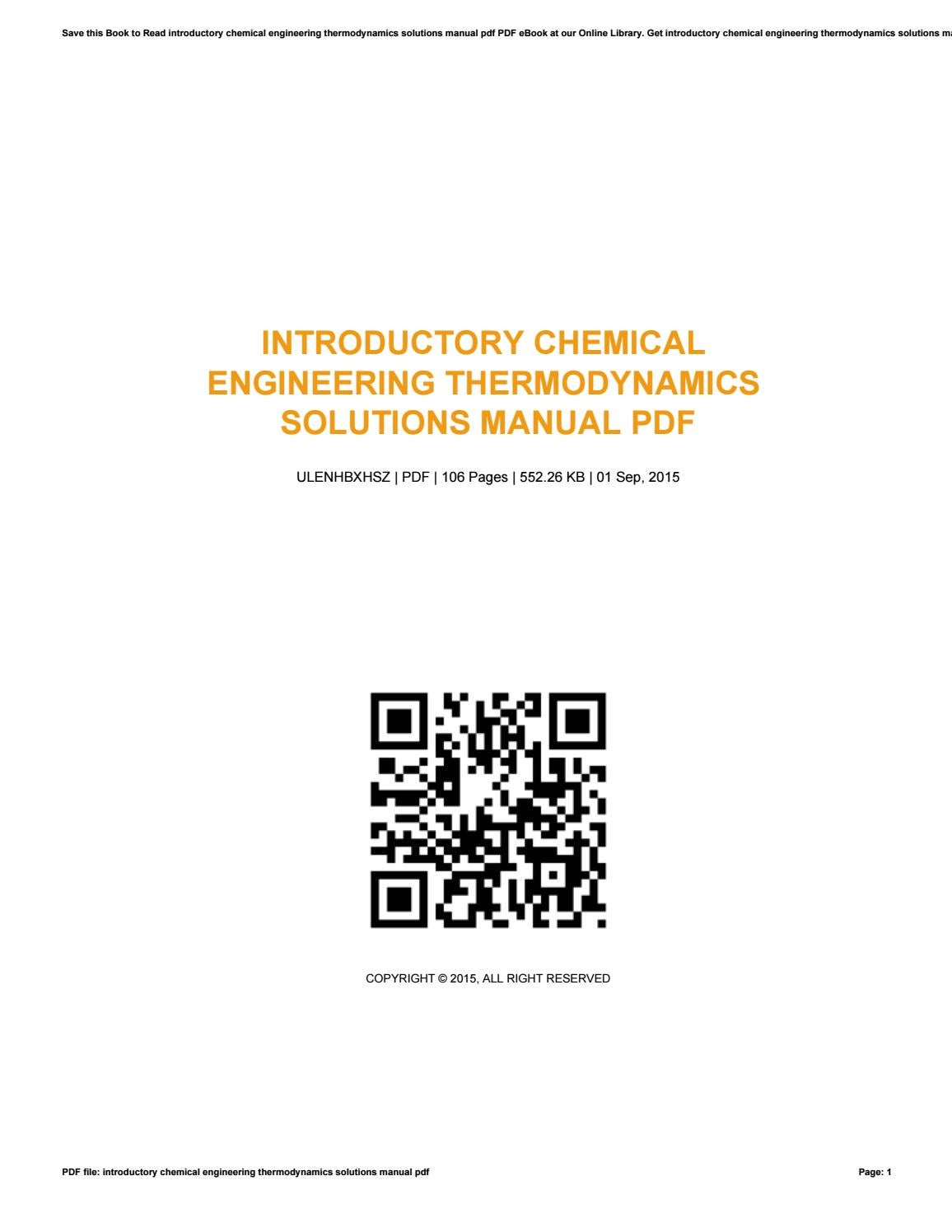 Introductory chemical engineering thermodynamics solutions manual pdf by  LisaGrayer2624 - issuu