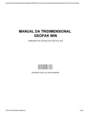 manual da tridimensional geopak win by thelmahonaker4284 issuu rh issuu com Power GEOPAK Icon Power GEOPAK Icon