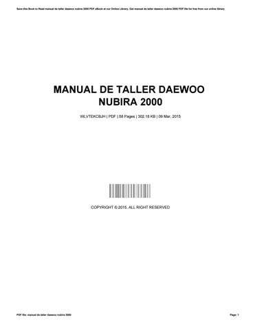 2000 daewoo nubira manual pdf ebook