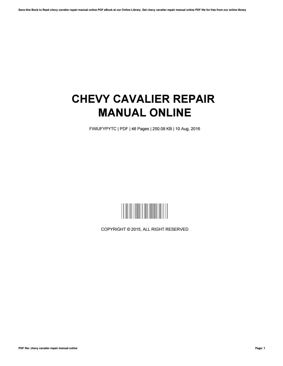 chevy cavalier repair manual online by daphnehagen1304 issuu 2005 Chevy Cavalier 2004 Chevrolet Cavalier Problems