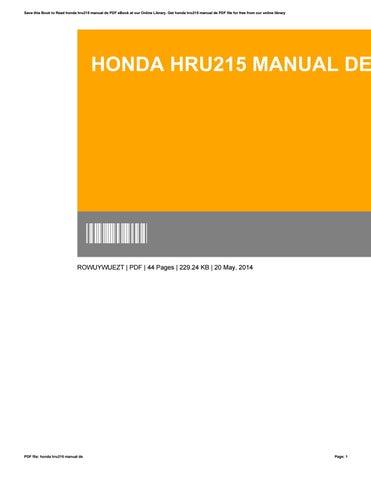 honda hru215 manual de by ruthkang19571 issuu rh issuu com