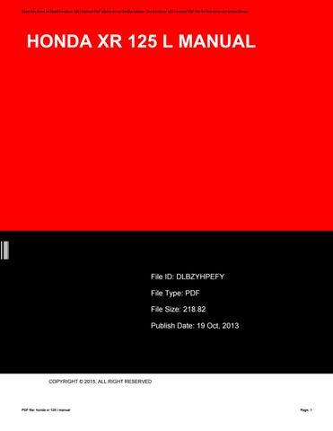 2005 honda xr 125 owners manual ebook.