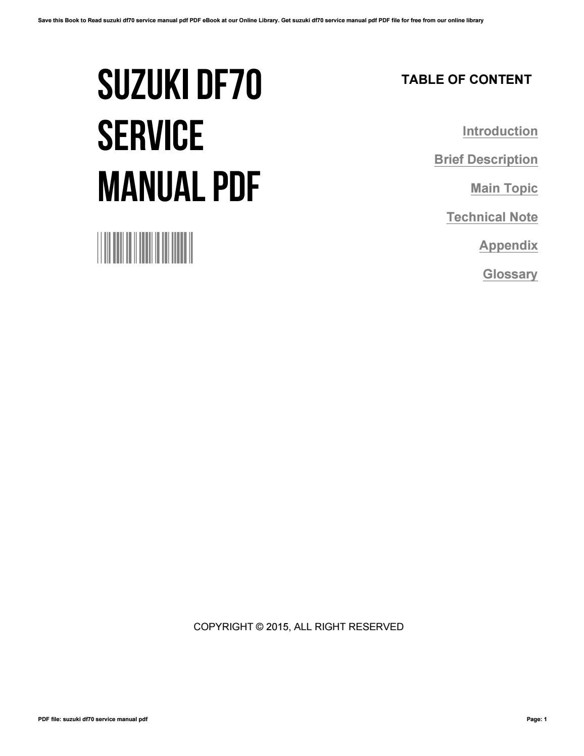 Suzuki df70a df80a df90a outboard motor service manual for sale.