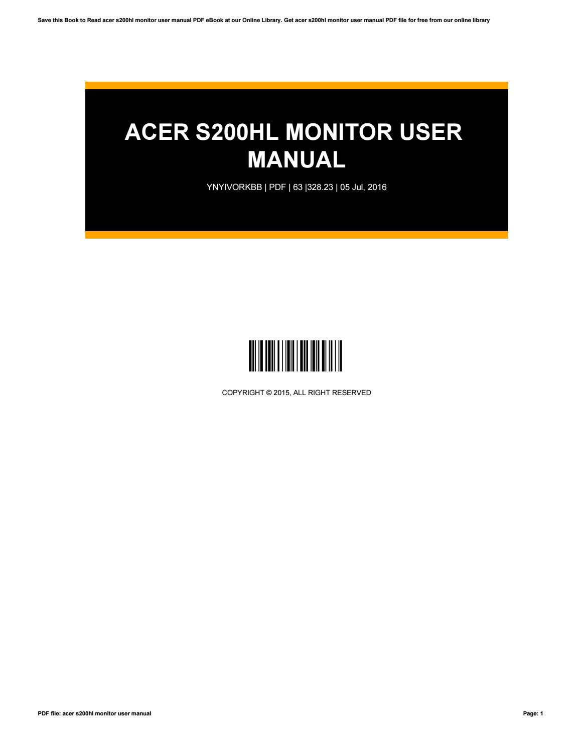 Acer s200hl monitor user manual