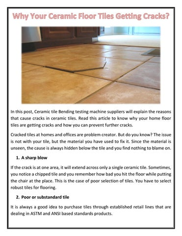 Why Your Ceramic Floor Tiles Getting Cracks By Eie Instruments Issuu