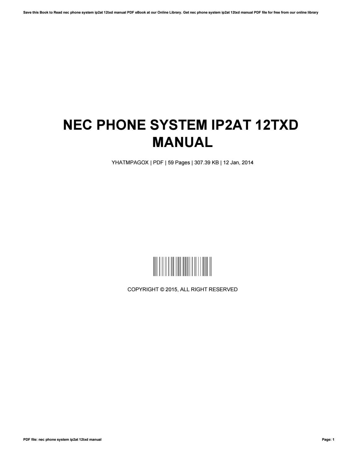 nec phone system ip2at 12txd manual by mathewcockrell1952 issuu rh issuu com Westinghouse TV Manual Westinghouse TV Manual