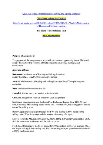 Qrb 501 week 3 mathematics of buying and selling exercises by