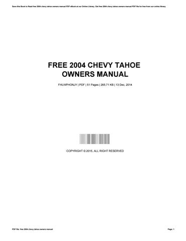 2004 chevy tahoe service manual