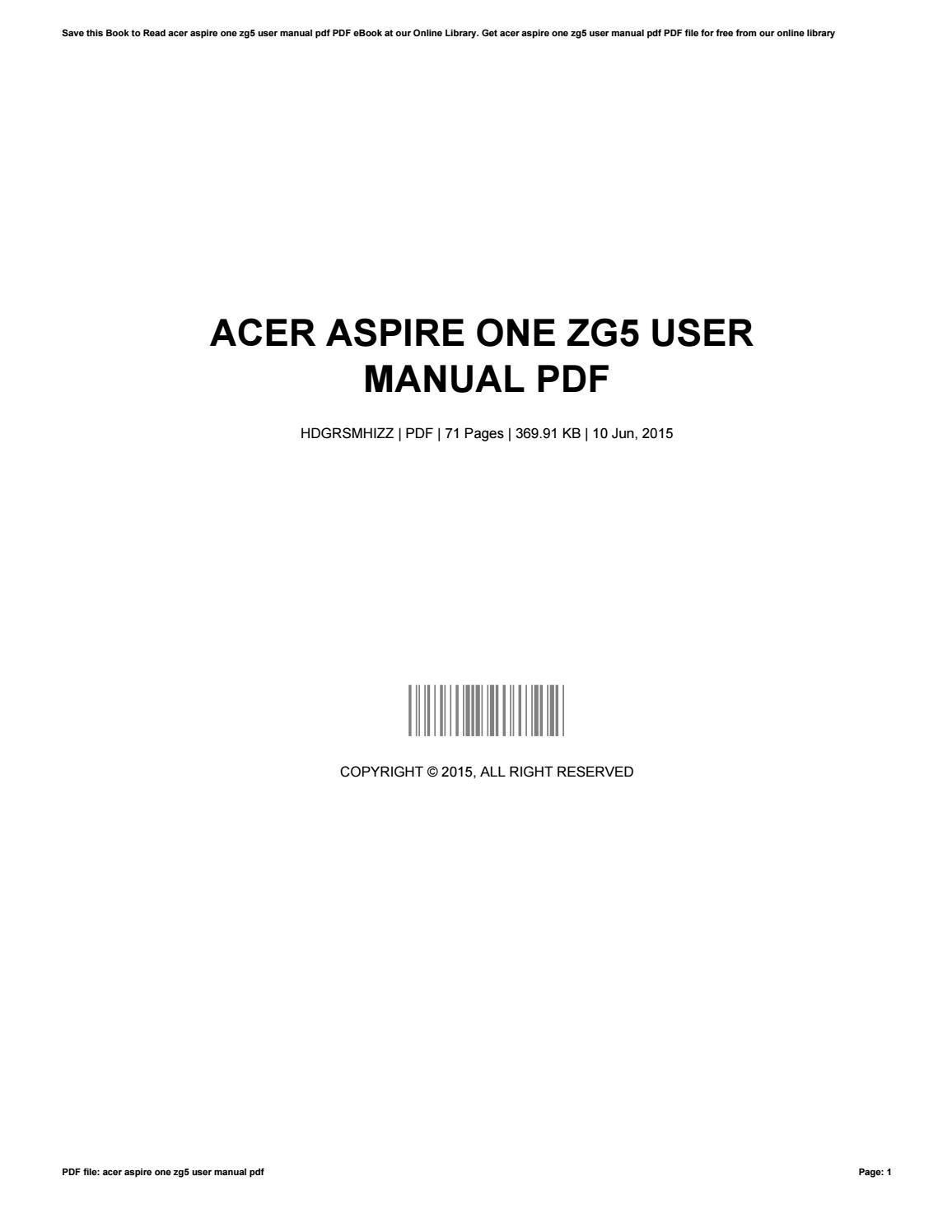 ... Array - acer aspire one zg5 user manual pdf by johnmassie4466 issuu rh  issuu ...