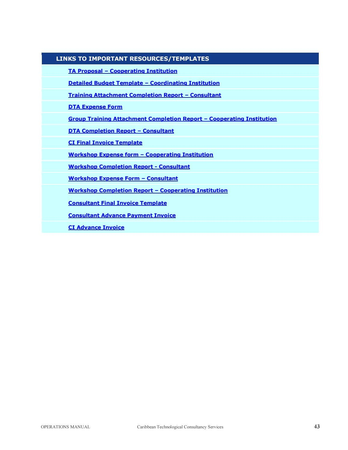 Operations Manual Caribbean Technological Consultancy
