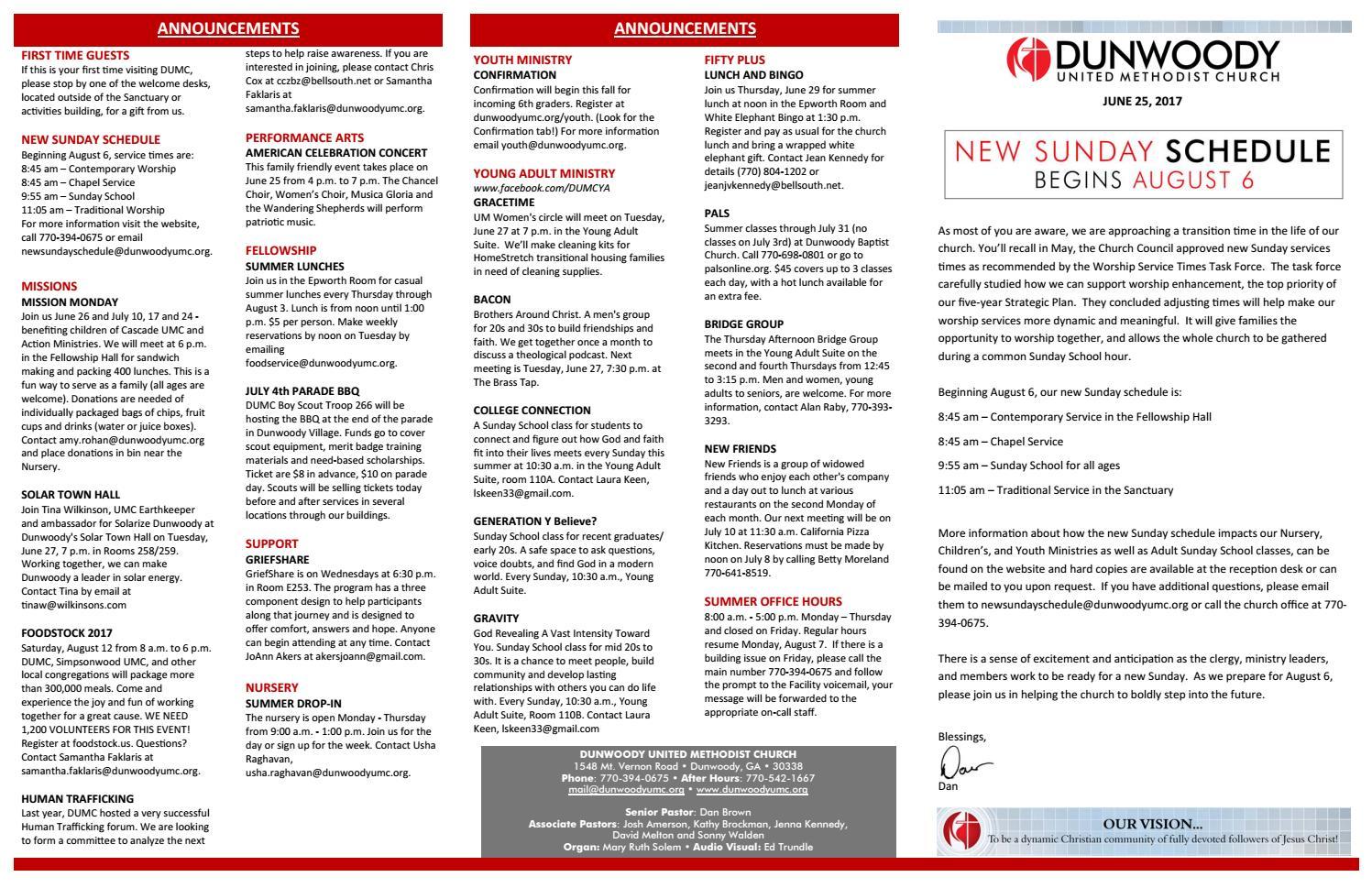 6-25-2017 Worship Bulletin by Dunwoody UMC - issuu