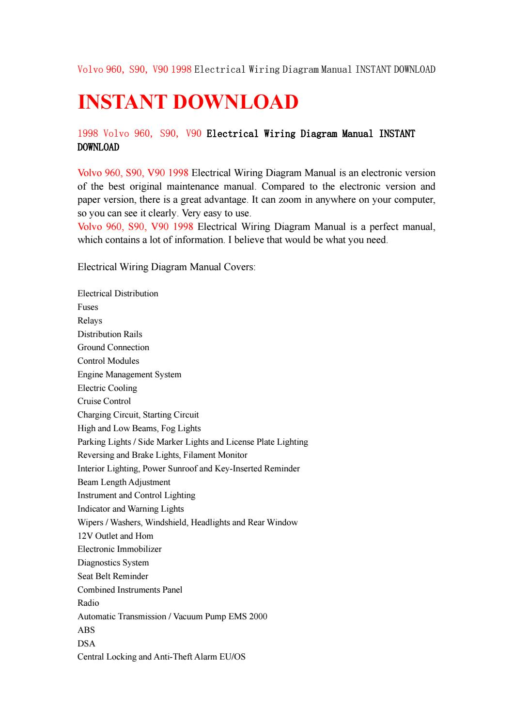 Volvo 960 S90 V90 1998 Electrical Wiring Diagram Manual Instant Warn 12v Download By Hfnsnf Issuu