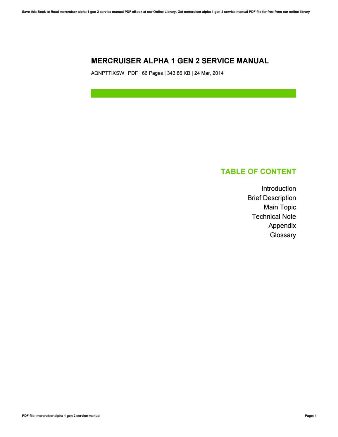 Mercruiser alpha 1 gen 2 service manual by beatricemeans4064 issuu fandeluxe Gallery